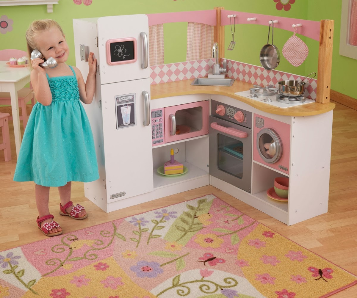 Kids Play Kitchen Wood: Children's Wooden Toys Toy Play Kitchen Furniture