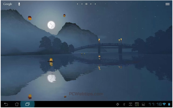 It Is A Serene Scene As Background With Oriental Lanterns Floating On The Water Before Flying Download