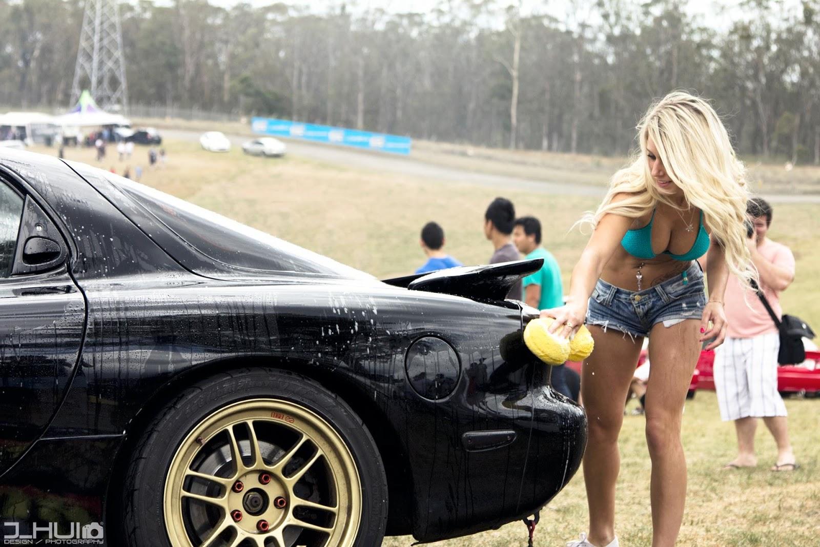 Mazda RX-7 FD, fotki dziewczyn z samochodami, bikini, blondynka, złote felgi, jdm, sportowy samochód, wankel, rotary