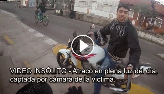 VIDEO INSÓLITO - Atraco en plena Luz del día, captada por cámara de la victima.