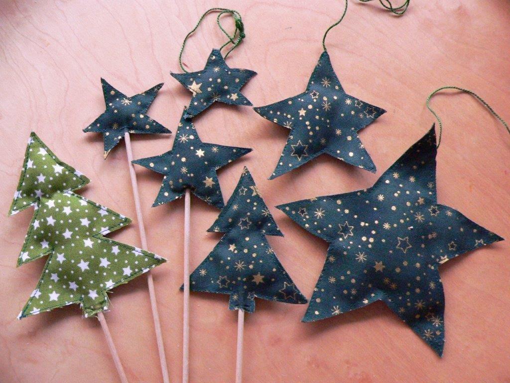 nähen Sterne Bäume Weihnachtsbaum Tanne Stoff Geschenkanhänger