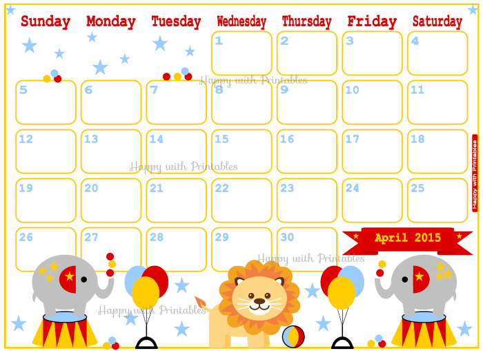 cute planner, planner for kids, printable planner, DIY planner, planner in circus theme, printable april planner