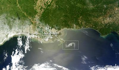 φωτογραφία που δείχνει κατ'αναλογία τη θέση της πετρελαιοκηλίδας στο κόλπο του Μεξικού, που σχηματίσθηκε μετά τη διαρροή πετρελαίου