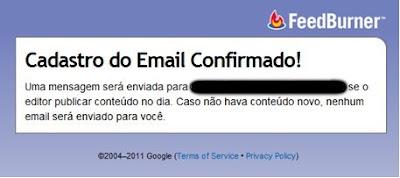 Após clicar no link do email recebido, você já está cadastrado nos Feeds RSS por email