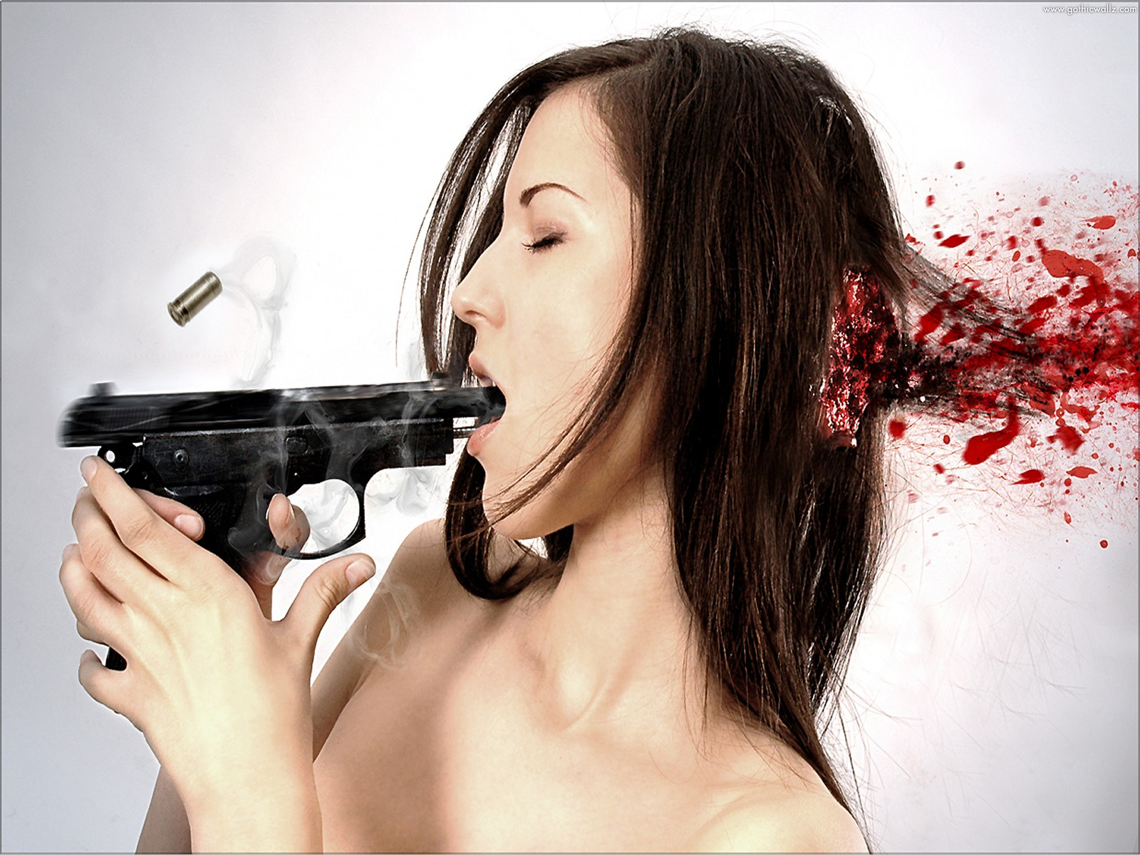 Blonde Shot in Head | Dark Gothic Wallpaper Download