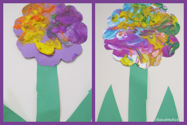 photo of: spring flower painting, craft for preschool, bulletin board for spring flower