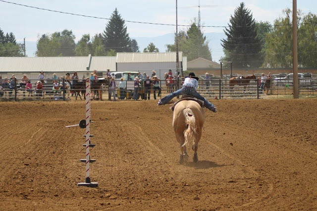 a contestant rounds the pole at the Sheridan Elk's Youth Rodeo
