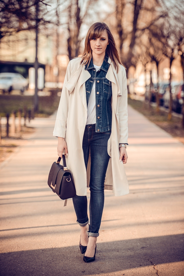 jacket on jacket look, style blogger, fashion blog blogger, h&m nude long trench coat, denim look, hm 2014 metal plate bag