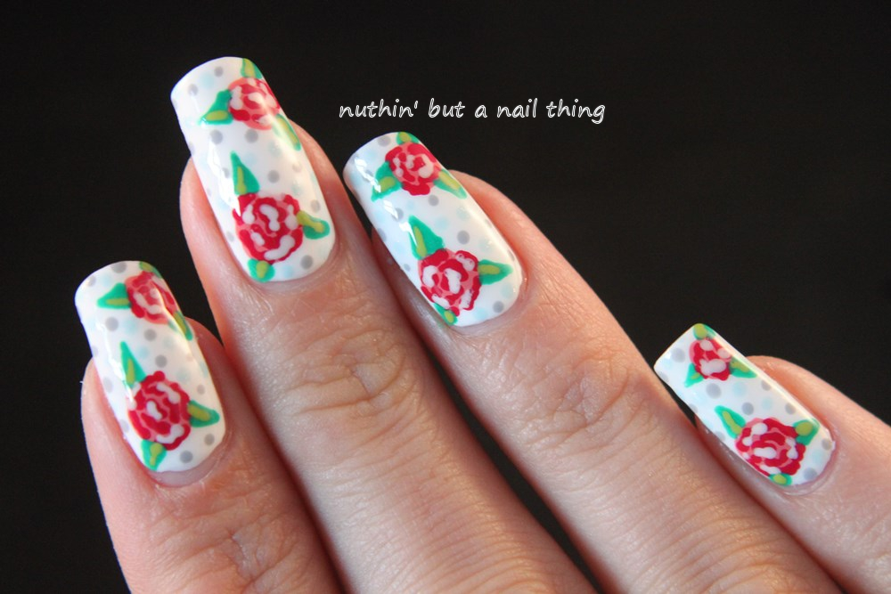 Nuthin but a nail thing vintage flower nail art tutorial using vintage style nail art design prinsesfo Gallery