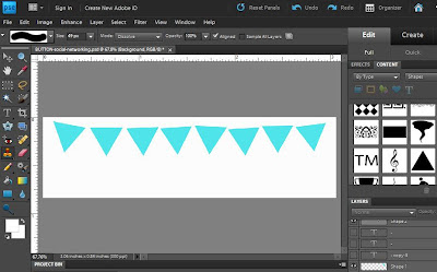 Use the traingle shape in Photoshop Elements to make bunting design for social media buttons