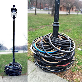 Real life ring toss—bike tires over a lamppost in Logan Square!