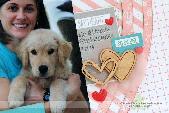 This Is Pure Happiness Puppy Scrapbook Page by Juliana Michaels featuring Elle's Studio Cienna Collection