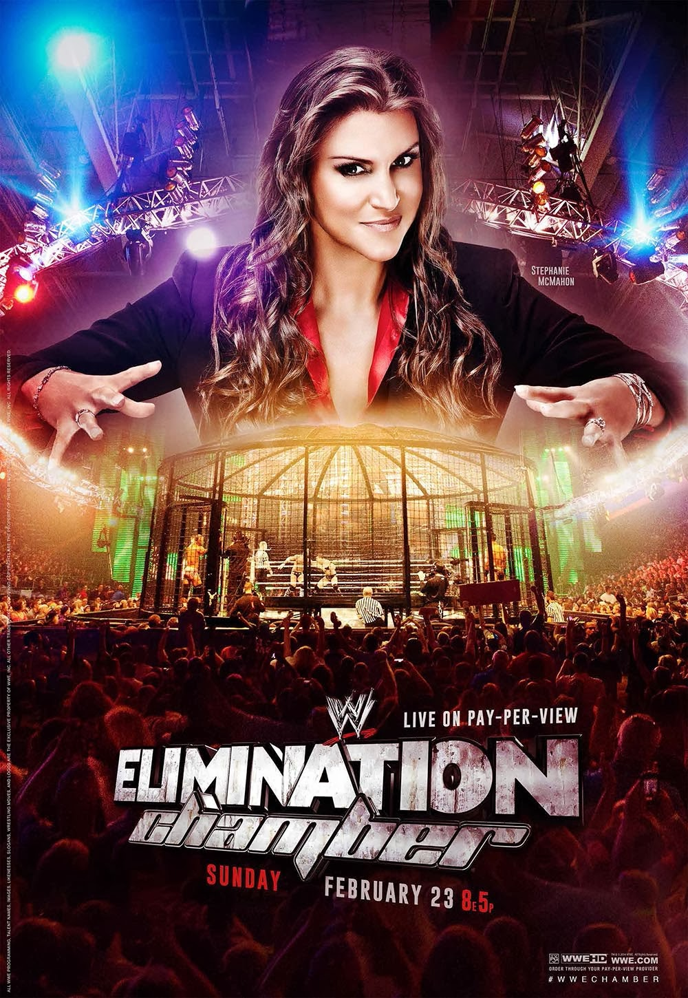 Image » Download & Print WWE Elimination Chamber 2014 HQ Official Poster (feat: Stephanie) - 3300px