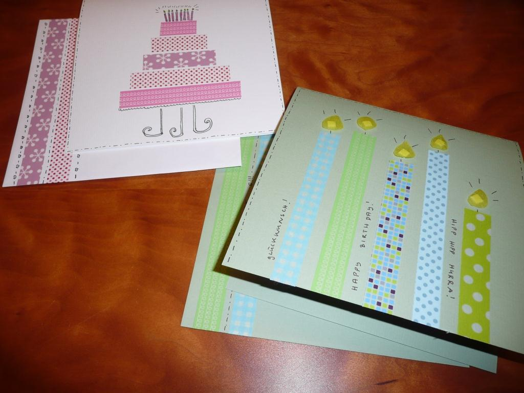 papaya 39 s kram diy birthday cards with masking tape. Black Bedroom Furniture Sets. Home Design Ideas