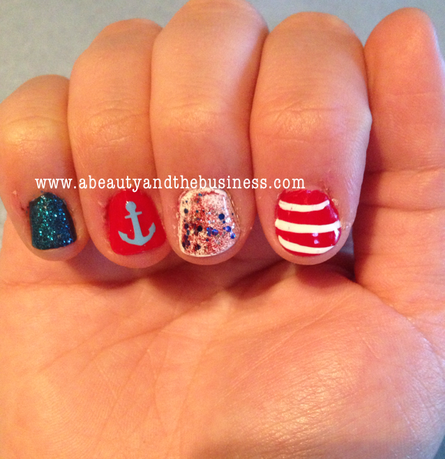 4th of july nails, patriotic nails, red white blue nails, blue glitter nails, star nail art, nail art, holiday nail art, july nail art,
