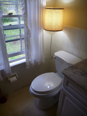 bathroom with standing lamp