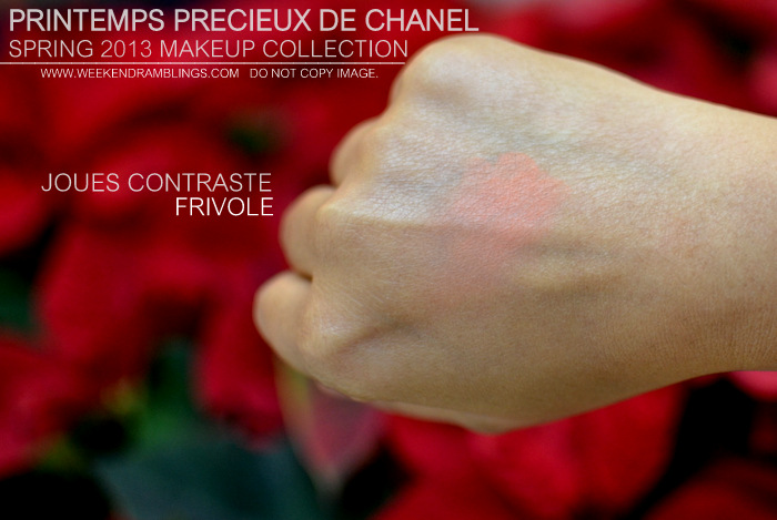 Printemps Precieux de Chanel Spring 2013 Makeup Collection Indian Darker Skin Beauty Blog Swatches Joues Contraste Apricot Blush Frivole