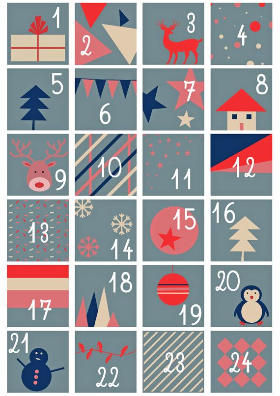 Números imprimibles para el calendario del adviento + Ideas regalo ...