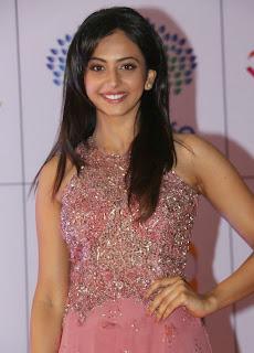 Actress Rakul Preet Singh Latest Pictures in Long Dress at Memu Saitam Dinner with Stars Red Carpet 22