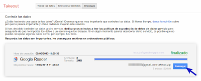 Descargar archivo de datos de Google Reader desde Google Takeout