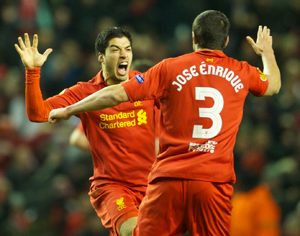 Suarez celebrates his hat-trick
