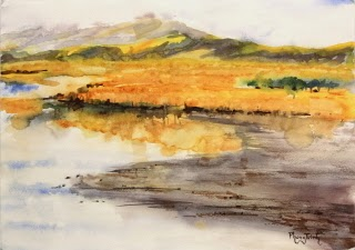 Wonderful Sunset Watercolor Painting Landscape of Whitianga, Coromandel, New Zealand 29.5 x 42 cm