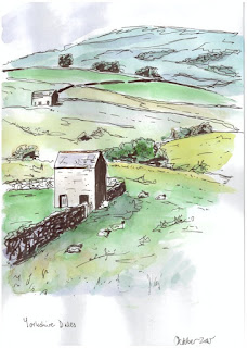 Yorkshire Dales ink and wash