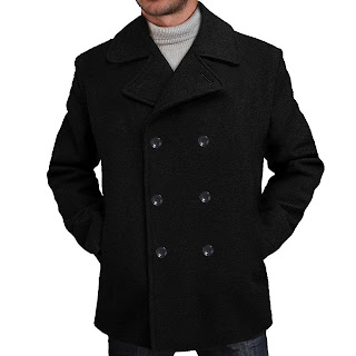 Men's Wool Blend Pea Coat in Black or Charcoal