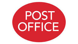 Red filled oval with the words Post Office in white