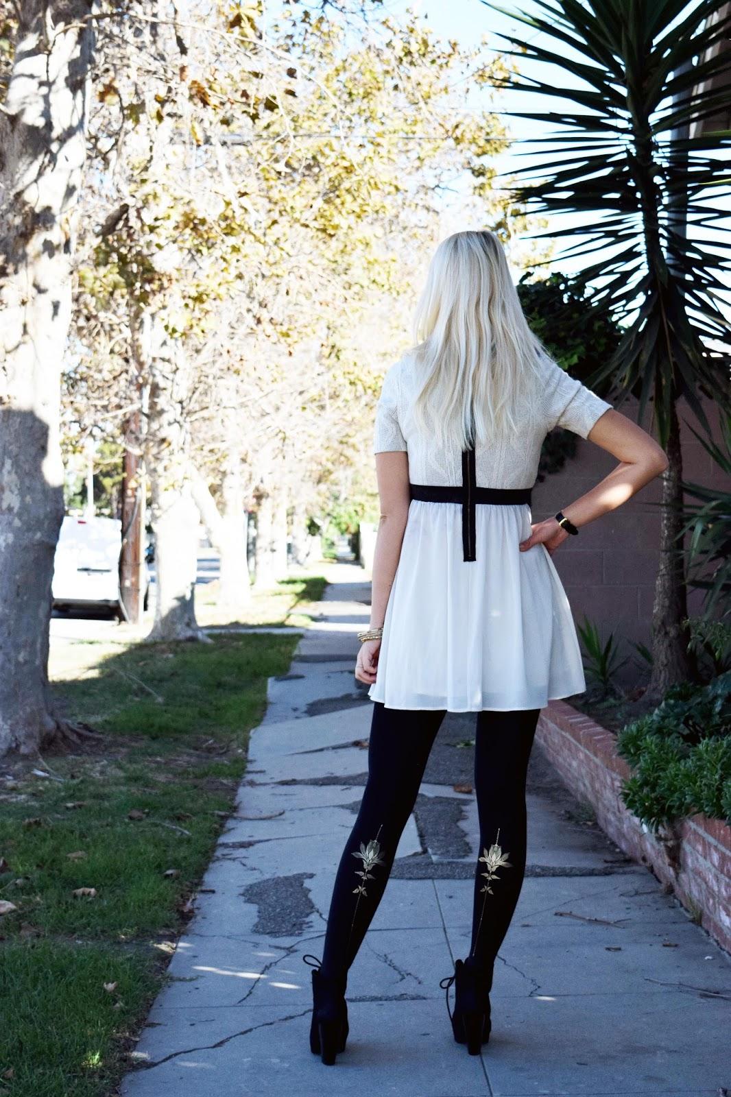 Trendy legs, tights, printed tights, fall, dress, trendy