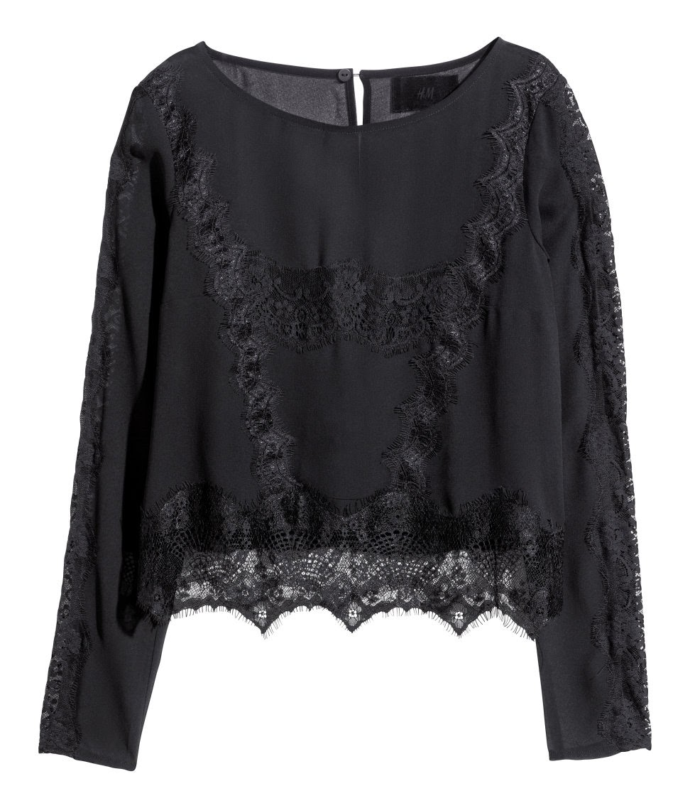 hm black lace top,