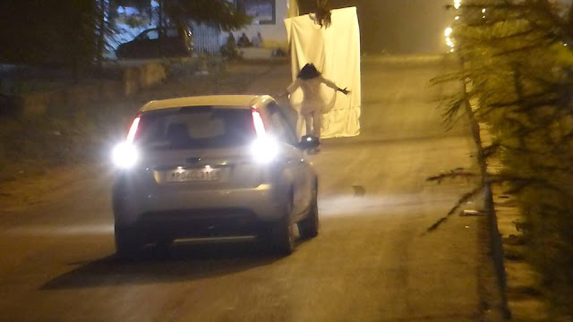 A video that's gone viral shows a car driver disturbed by two pranksters, dressed as ghosts, running over one of them, seriously injuring the person.
