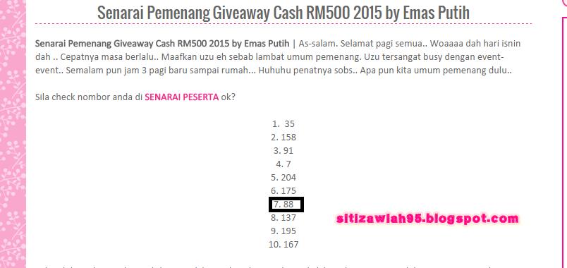 Rezeki Menang Giveaway Cash RM500 2015 by Emas Putih