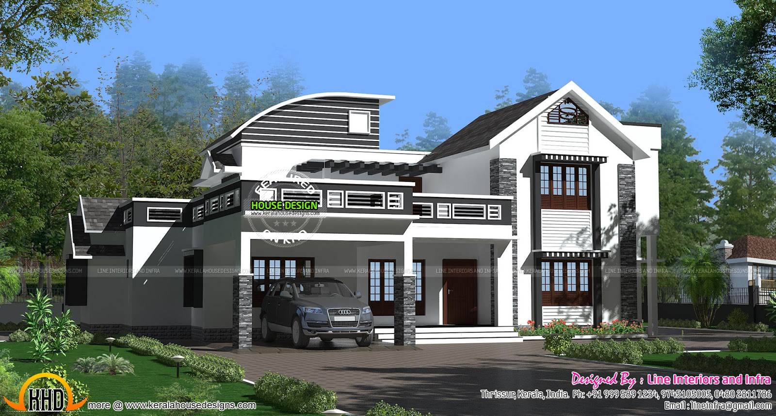 Contemporary style mixed roof house kerala home design for New modern style homes