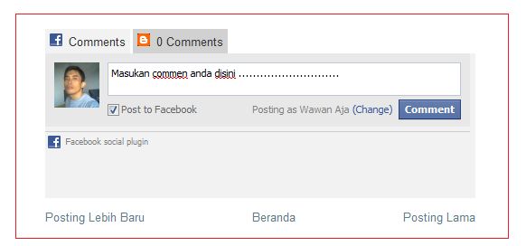Komentar Facebook Berdampingan Dengan Blogger