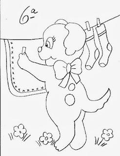 desenho cachorrinho colocando roupa no varal