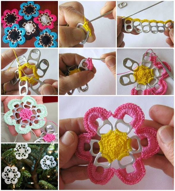 Crochet Flowers With Pop Tabs