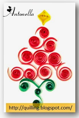 Lovely Red Coil Quilled Christmas Tree from Antonella at www.quilling.blogspot.com  #Quilled #Quilling #Christmas