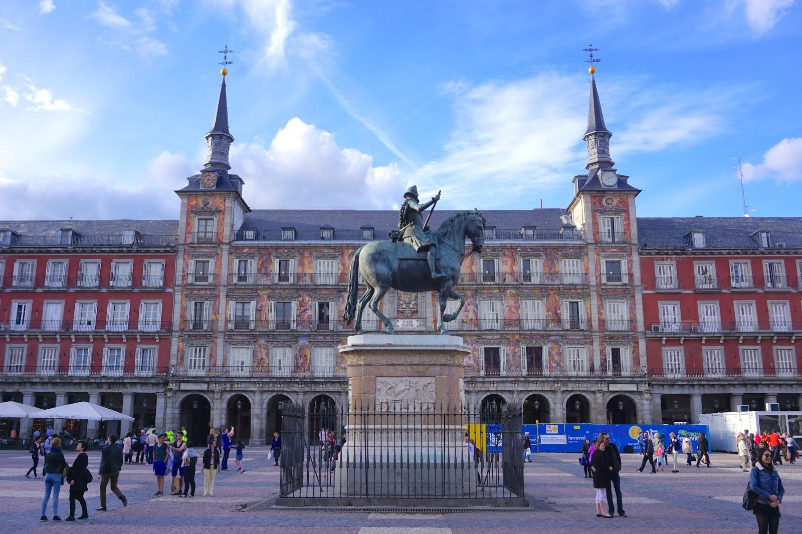 Blue skies over Plaza Mayor in Madrid
