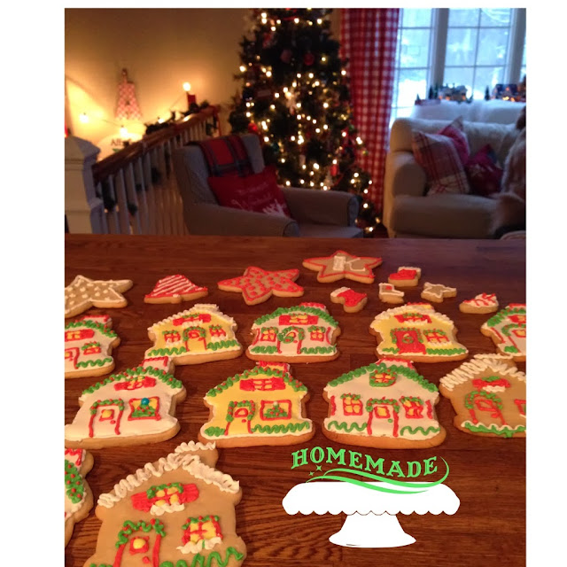 Christmas house cut out sugar cookies using Wilton cookie cutter-www.goldenboysandme.com