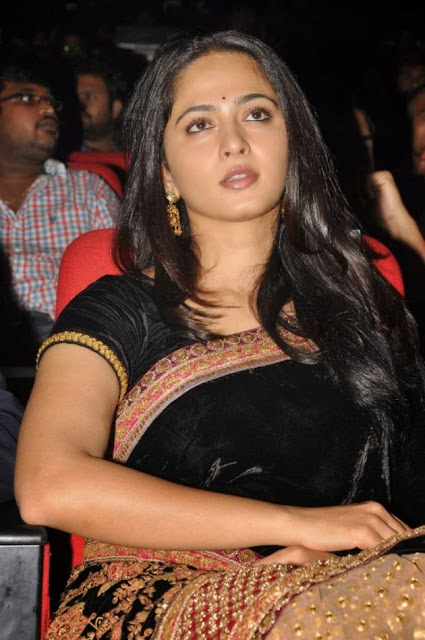 Actress Anushka Black Saree Photos