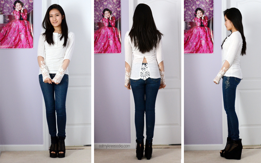 More photos of the Jollychic lace-trim long sleeve white T-shirt.