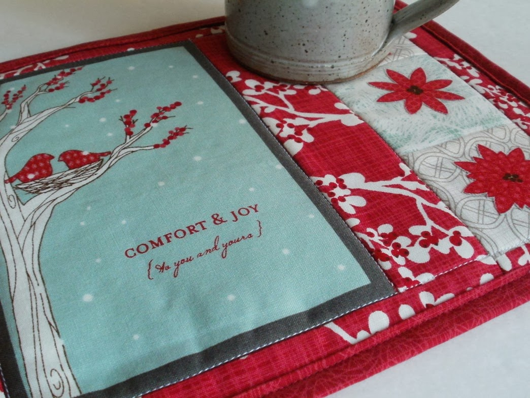 My christmas y winter mug rug for october s christmas y project