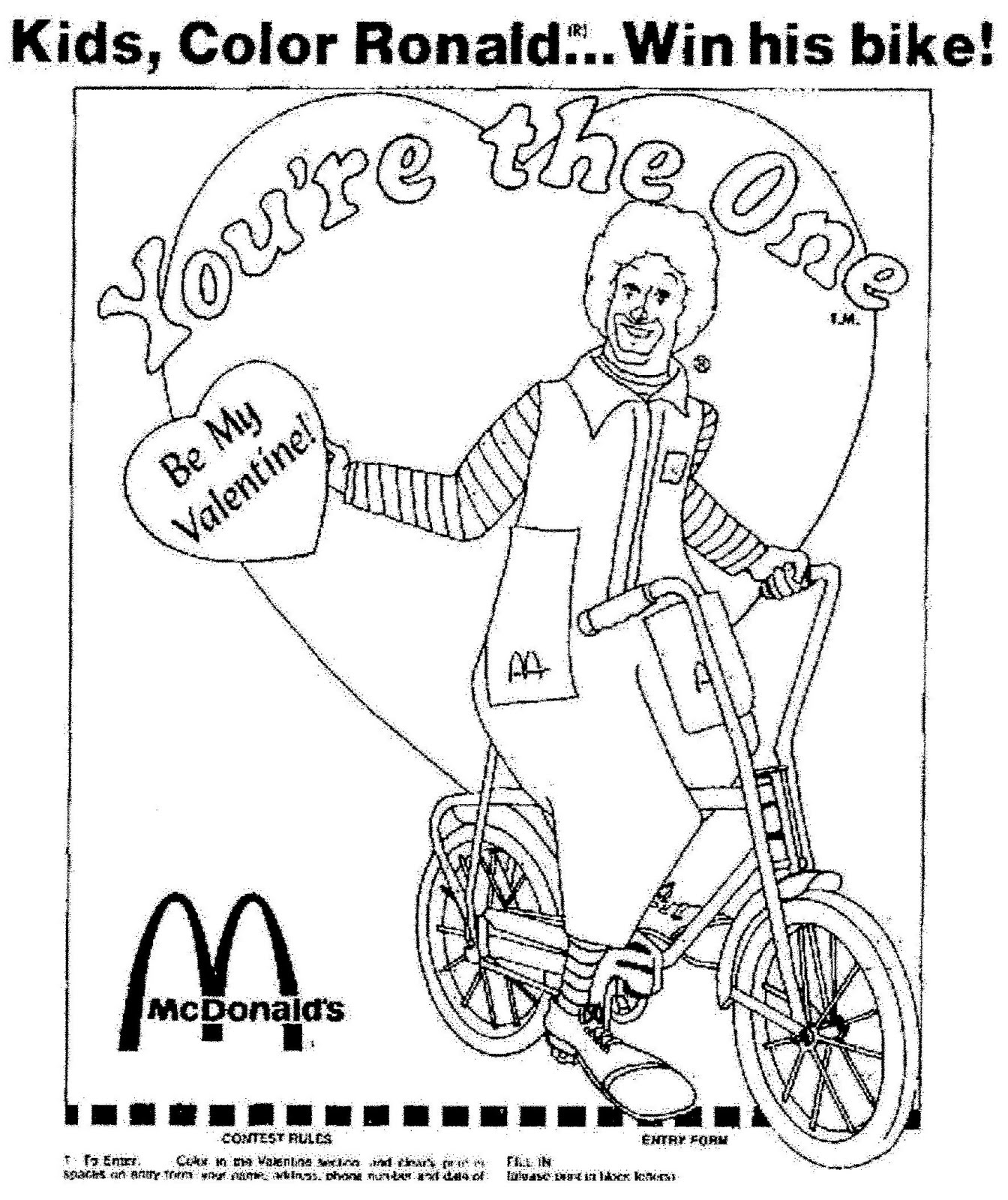 A Ronald McDonald Valentine 1976