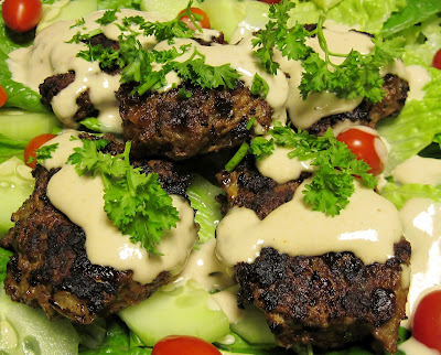 Israeli kabobs with tahini dressing