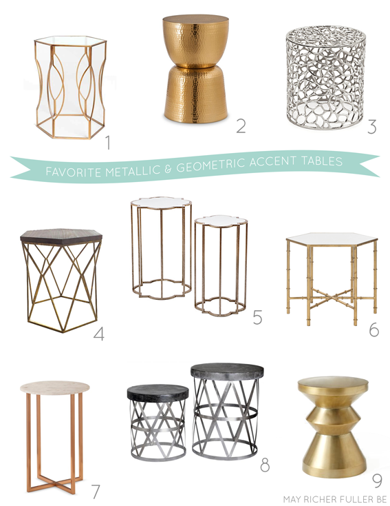 1 | Urban Outfitters Hexagon Side Table - $99 2 | Threshold Gold Hammered  Metal Drum Table - $70 3 | ZGallerie Tilden Stool - $250 - Favorite Metallic & Geometric Accent Tables