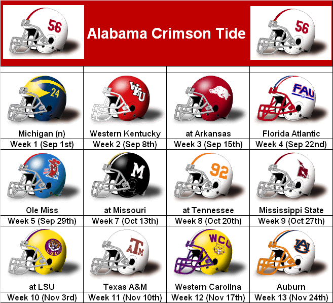 SimonOnSports: 2012 Alabama Crimson Tide Helmet Schedule