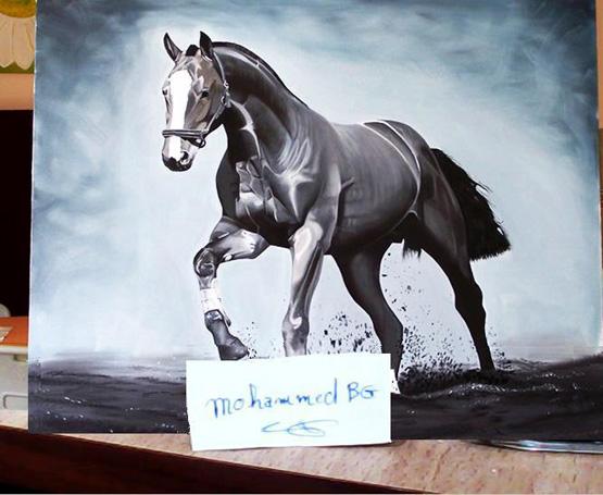 رسم حصان بالالوان المائية