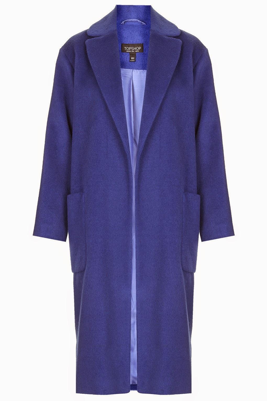 topshop blue long coat