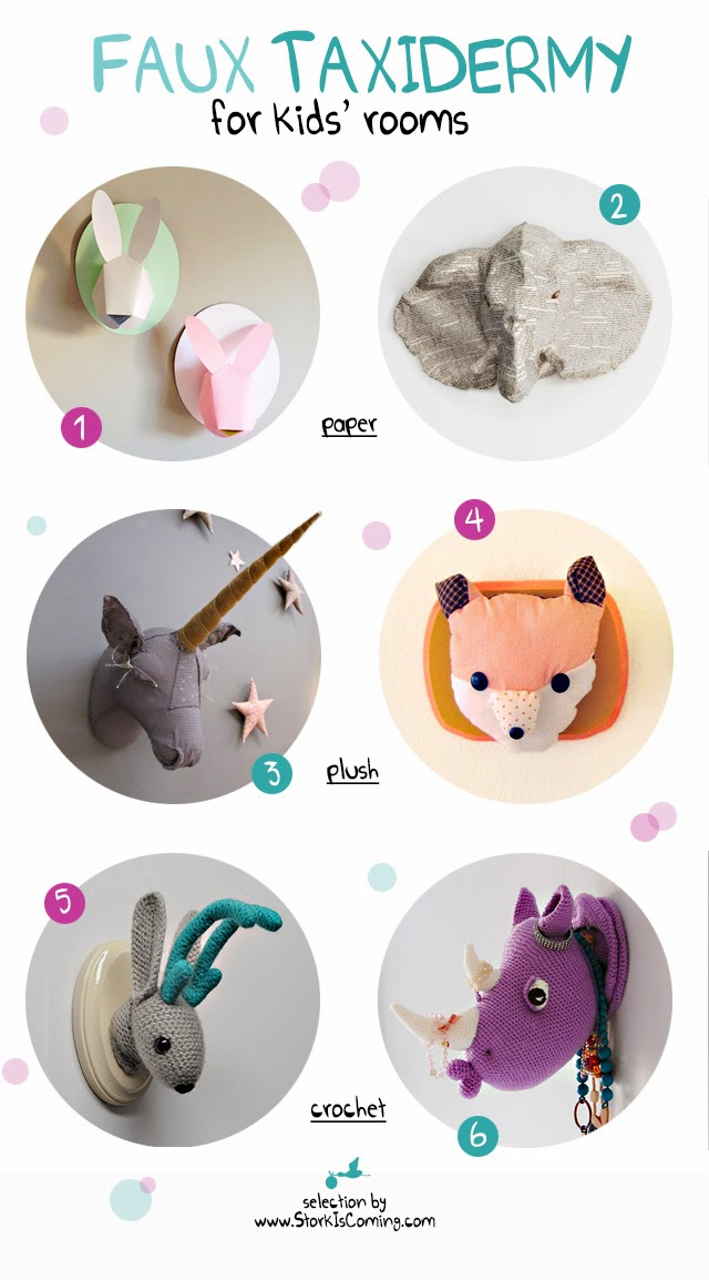 faux animal heads to decorate kids' rooms